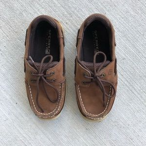 Boys SPERRYS: Size 1m/Brown Leather